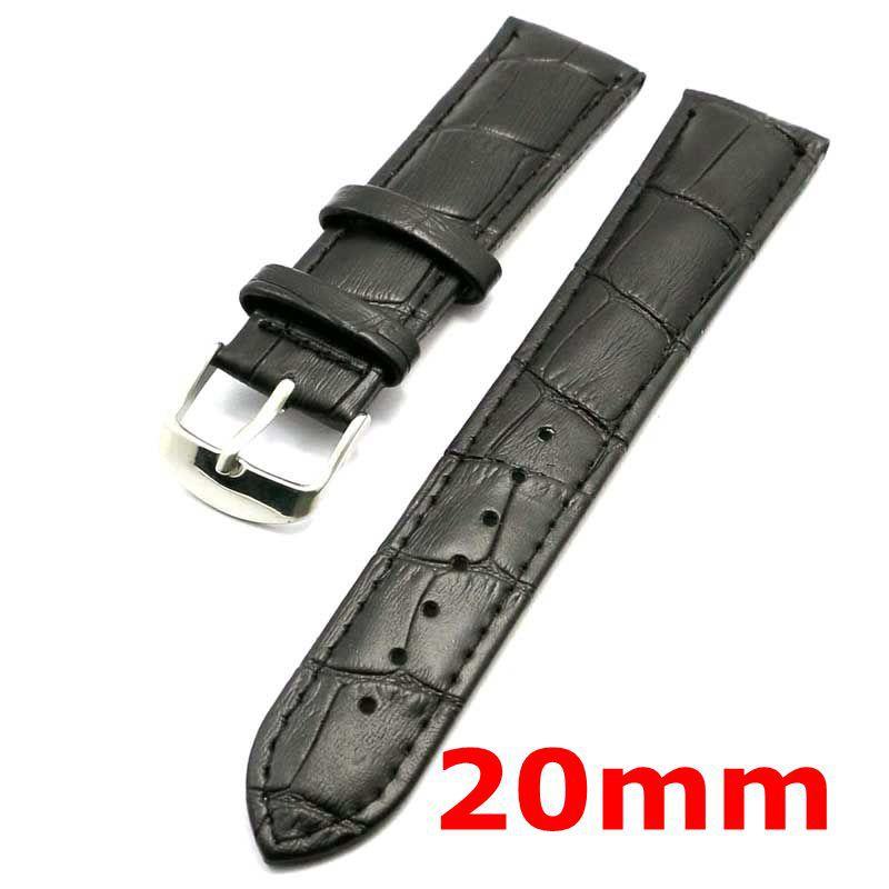 20 мм ремешок из натуральной кожи черный браслет ремешок для часов PD020120