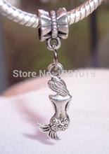 Hot Fashion Mermaid Back Ocean Siren Legend European Dangle Bead for Silver Charm Bracelets/Pendants Jewelry Fitting 100Pcs/lot(China (Mainland))