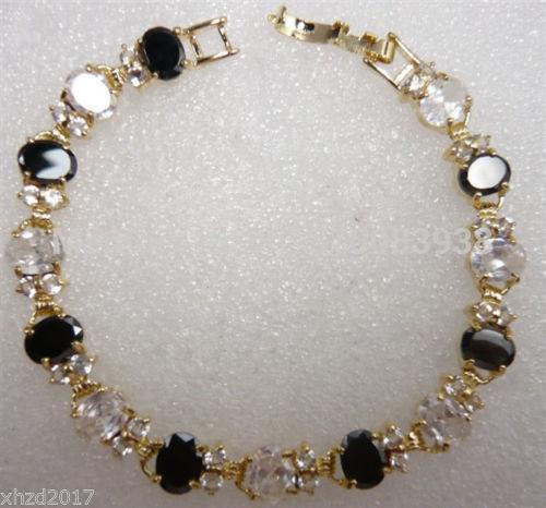 FREE SHIPPING >>>beautiful fine 6*8mm black white Cubic Zirconia bracele(China (Mainland))