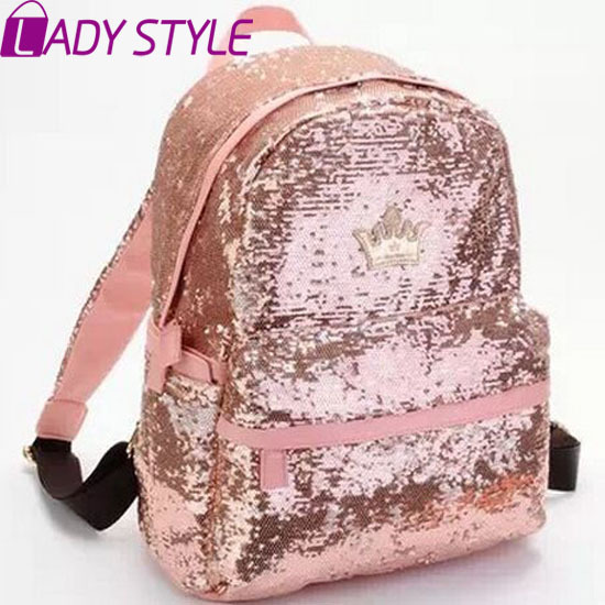 New 2015 Casual Women Colorful Canvas Backpacks Girl Student School Travel bags Mochila Women Bag paillette bling bag HL6459(China (Mainland))