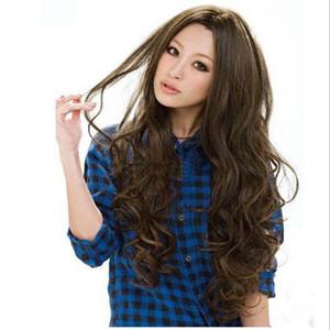 Бесплатная доставка мода парики из синтетических волос длинные вьющиеся большая волна натуральный черный / светло-коричневый / темно-коричневый