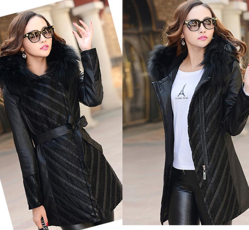 Женщины вниз хлопок - мягкий куртка большой мех воротник пальто одежда кожа куртки женщины осень зима ватные куртка