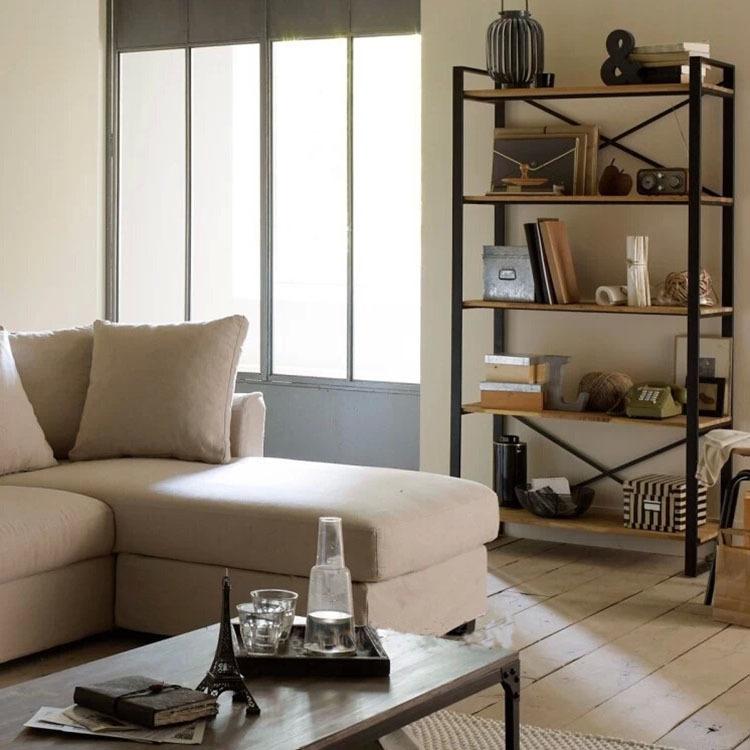 2015 New Designer Shelf For Books High Quality Solid Wooden Bookcase Vintage Iron Bookshelf Furniture Estanteria Fr566(China (Mainland))