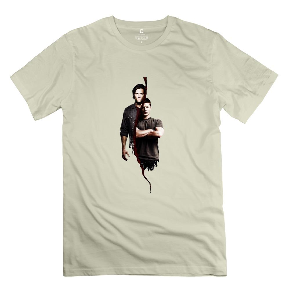 2015 hot Supernatural Sam E Dean t-shirt music o-collar boys company t shirts COUPLE for men(China (Mainland))