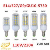 Retail 110V 24LEDs 36LEDs 48LEDs 56LEDs 69LEDs SMD 5730 E14/E27/G9/GU10 LED lamp Ultra Bright LED Corn Bulb light Chandelier