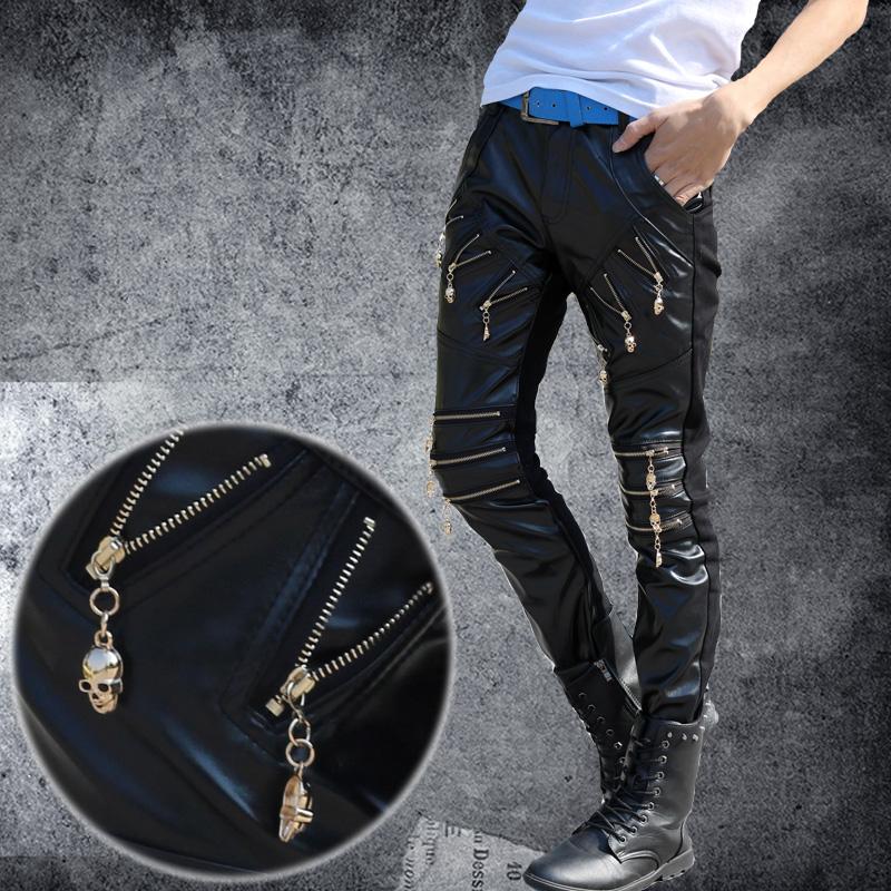 Teenage male winter thermal pants boys patchwork trousers slim black PU motorcycle pants free shopping(China (Mainland))