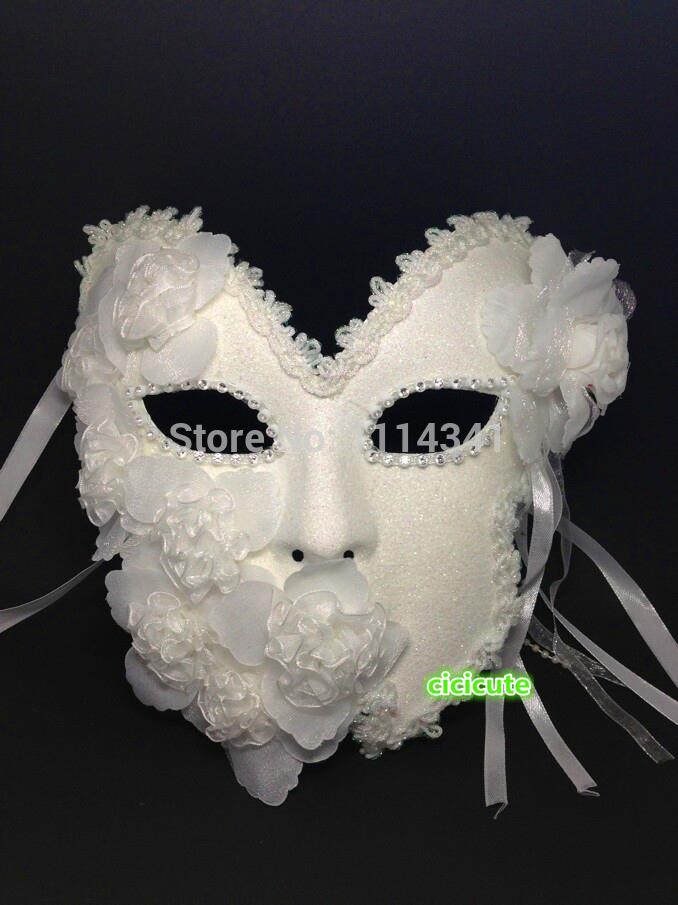 Venetian Princess Full Face White Glitter Flowers Hand Made Ball Party Mardi Gras Masquerade Womens Mask(China (Mainland))