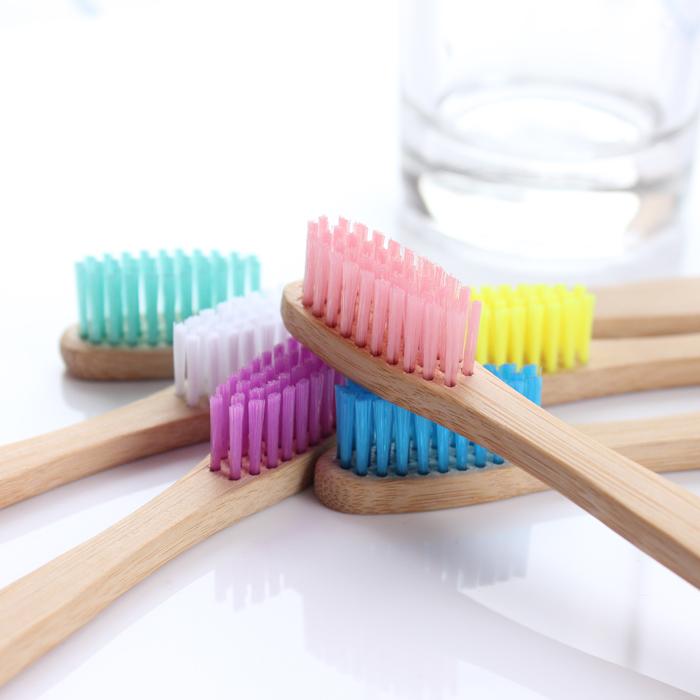 Pure natural bamboo toothbrush 6 color bamboo handle wooden original small fluff Muji color brush(China (Mainland))