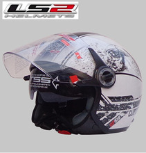 Free shipping authentic helmet LS2 OF577 double mirror and a half helmet washable lining flash white