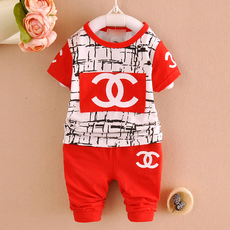 High quality 2015 Summer Brand Children's Suits Baby Boys Girls Cotton Suits Kids Sports Fashion T Shirt+Shorts Newborn Sets(China (Mainland))