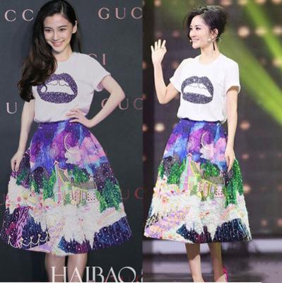 2015 New spring/summer women's fashion runway lips T-shirt + 2 PCS printed castle women skirt sets(China (Mainland))