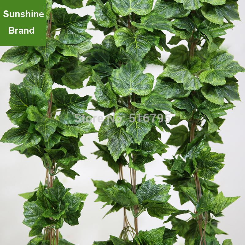 2.6M Artificial Plastic Vine Ivy Grape Leaf Foliage Flowers Home Decor wall hanging Green plants Silk Garland Wedding decoration(China (Mainland))