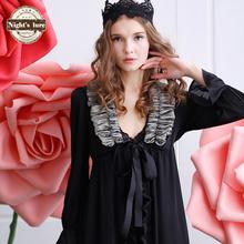 #151445 women spring and autumn luxury black chiffon lace noble large lapel lacing robe bathrobes(China (Mainland))