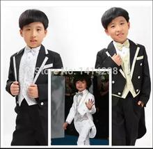 Livraison gratuite haute qualité des vêtements d'enfants ensemble costume garçon enfants costumes Blazers vêtements de mariage Tuxedo Blazer + gilet + chemise + pantalon + noeud papillon(China (Mainland))