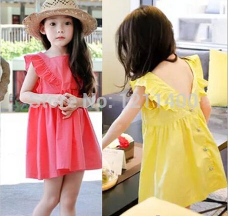 3-8 years, 2015 summer soft Girl dress temperament kids sundress children beach dress fashion sweet dress good quality 2 colors(China (Mainland))