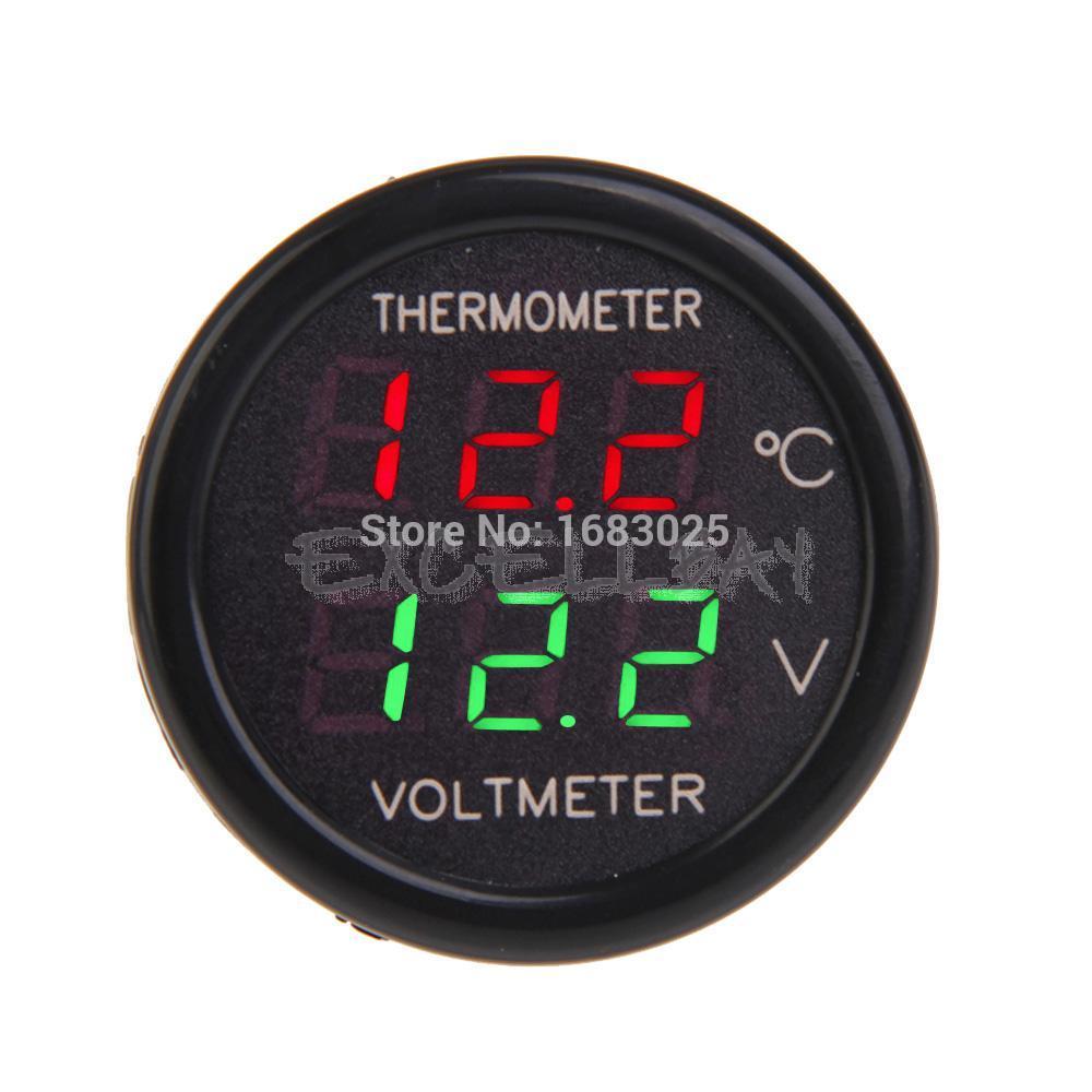 New 2 In 1 Car 12V Red Green Dual Display LED Dual Digital Thermometer Temperature Meter Voltmeter(China (Mainland))