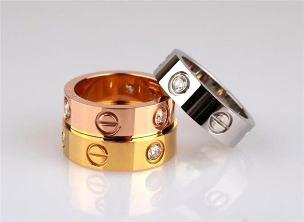 New Fashion Brand Design 4mm Width Stainless Steel Rings For Woman Crystal Jewelry Carter Rings G504(China (Mainland))