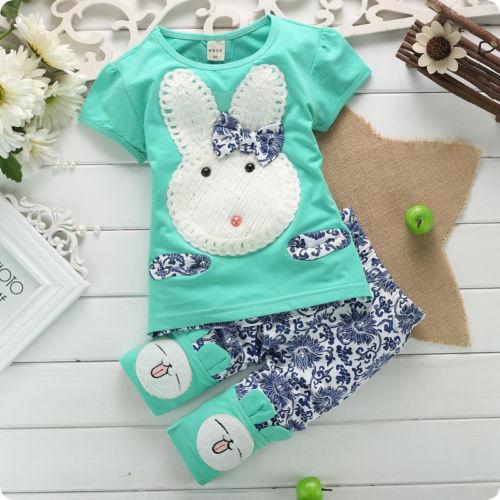 2PC Baby Kids Girls Top and Short Pants suits summer Cute Rabbit cartoon children's clothing set(China (Mainland))