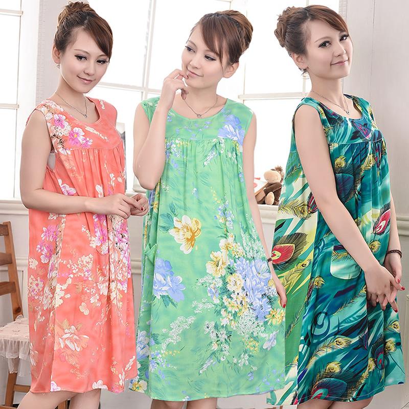 Women's artificial cotton nightgown summer cotton silk cotton 100% lounge sleepwear nightgown plus size plus size(China (Mainland))