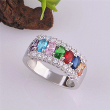 9 Colors Bague Femme Luxury Ruby Green Pink Sapphire Blue Crystal Stone Ring Women Jewelry Wedding