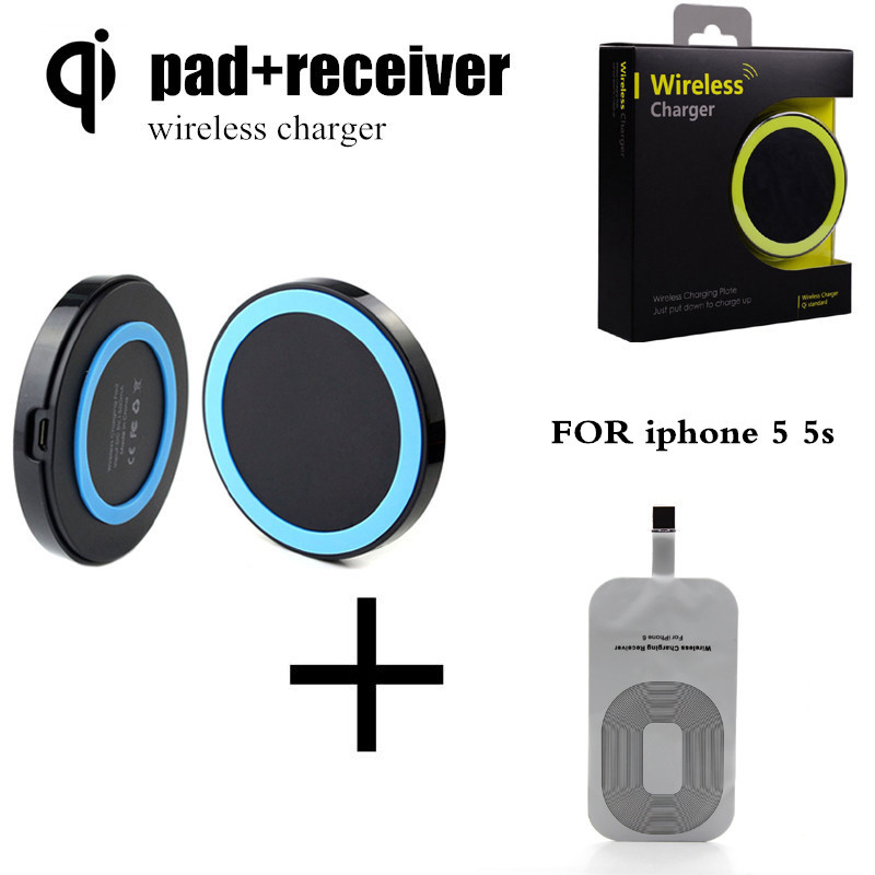 Mobile Phone Qi Wireless Charger Pad + Receiver Chip Tap For Support New Ultra Thin S For Apple iPhone 5 5s 5C(China (Mainland))