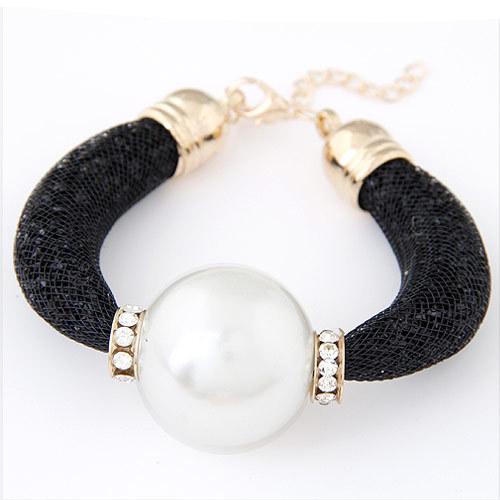 Free shipping 2015 Fashion  big pearl crystal Charm stardust bracelets & bangles Wristband for women(China (Mainland))