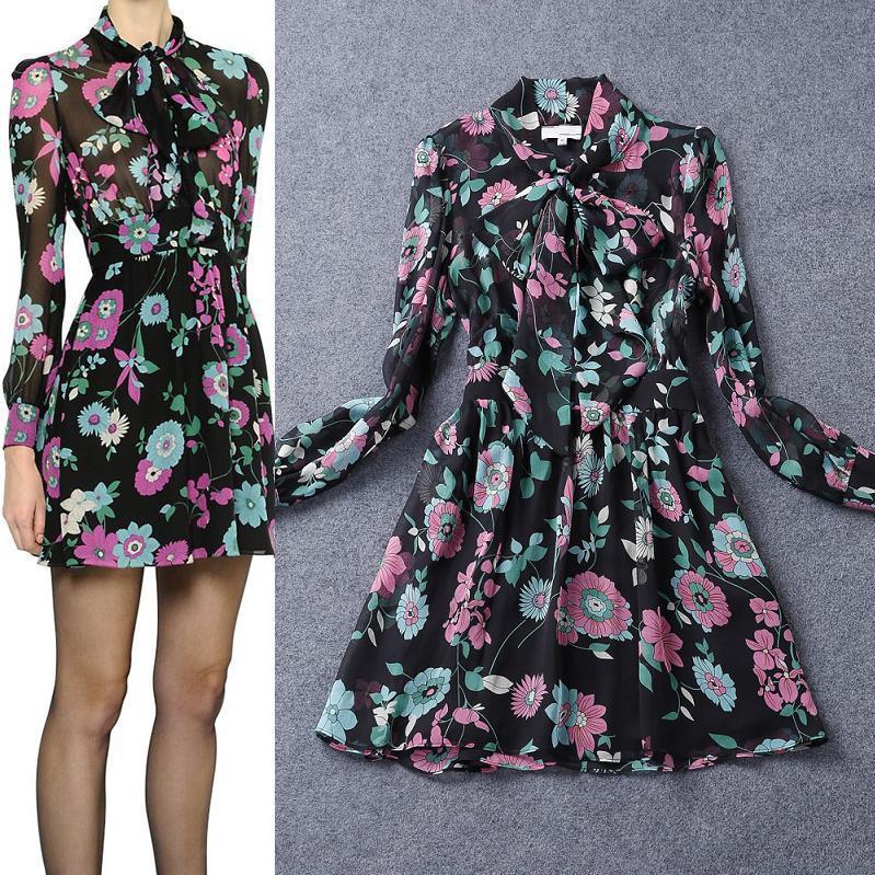 Top Quality New Luxury Design Fashion Summer 2015 Women Elegant Bow Collar Long Sleeve Silk Chiffon Print Dress Vintage Floral(China (Mainland))