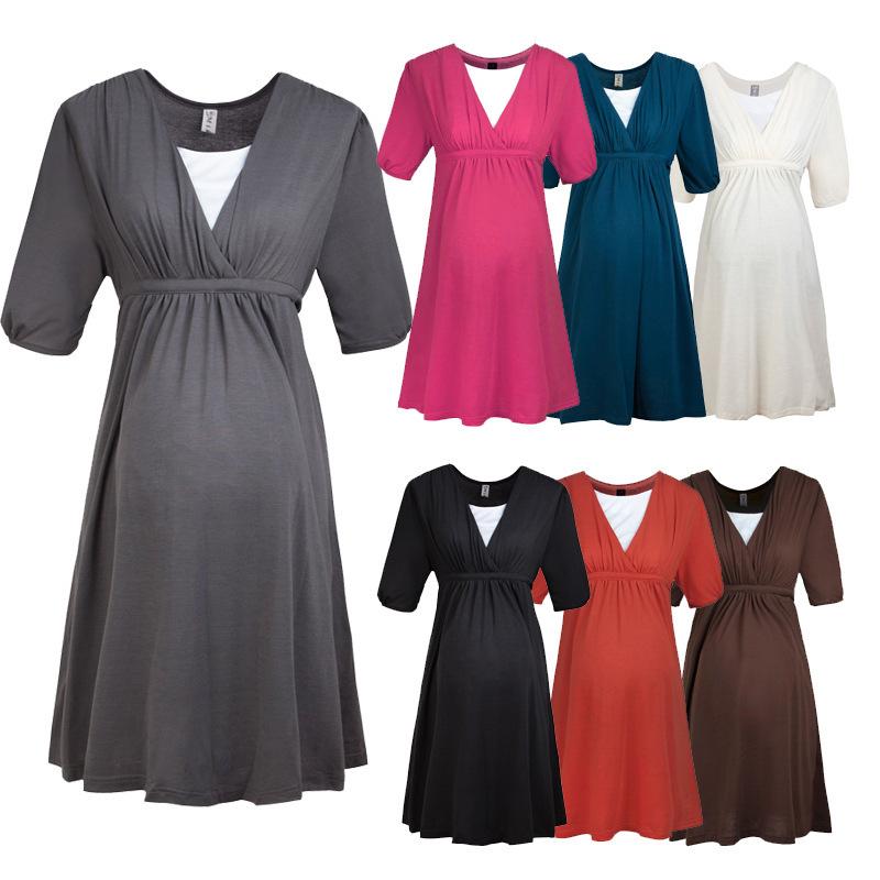 2015 Hot Sale Fake two V-neck Pregnant models clothes for pregnant women Elasticity Waist gravida pregnant clothes(China (Mainland))