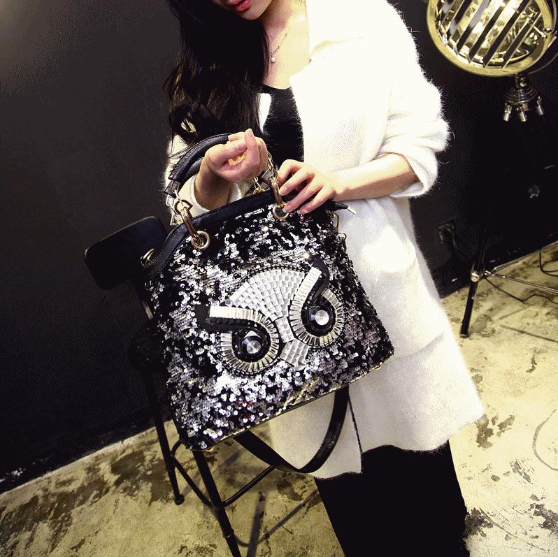Owl design ladies handbags Sequined Imitation diamond women bag Evening bag fashion and personality Animal Prints party bag(China (Mainland))