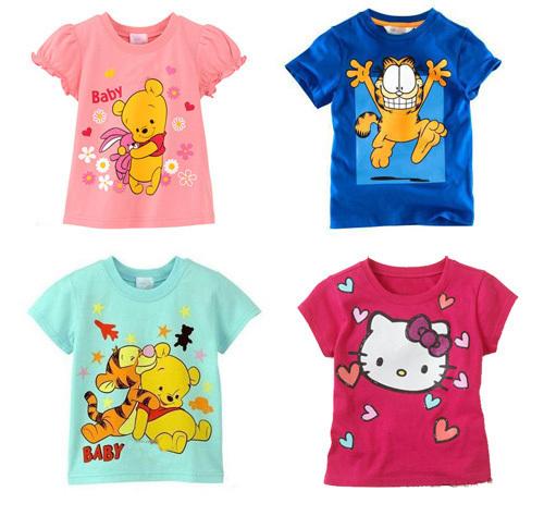 Free shipping New 1pcs baby bay girl Shirts bear Kids blouses Children Summer Wear Short Sleeve Children clothes(China (Mainland))