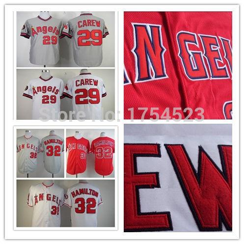 Free shipping Los Angeles Angels jersey #29 Rod Carew #32 Josh Hamilton authentic baseball 100% stitched Logos Jersey(China (Mainland))