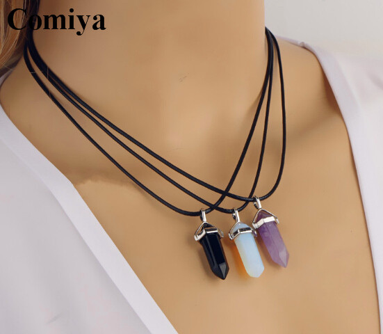 Simple black rope chain choker Necklace colorful turquoise stone Opal Opalite Crystal charm pendants necklaces jewelry Gift 2015(China (Mainland))