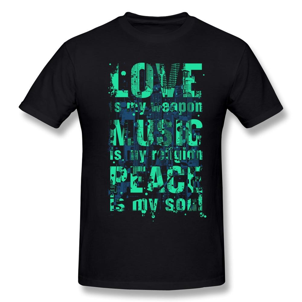 new brand Love - Music - Peace t shirt korea o collar men music t shirts for men(China (Mainland))