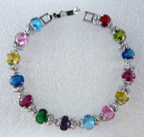 FREE SHIPPING >>> beautiful fine 6*8mm Colorful Cubic Zirconia bracele(China (Mainland))