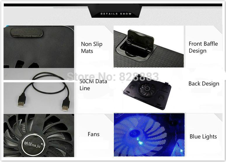 Ноутбук охлаждающая подставка синий из светодиодов ноутбук кулер 5 поклонники 2 USB порт стенд для ноутбука 10 - 17