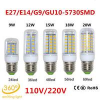 2pcs/lot E27 base 110V/220V 9W 12W 15W 18W 20W 24/36/48/56/69LEDs SMD 5730 LED lamp Ultra Bright LED Corn Bulb light Chandelier