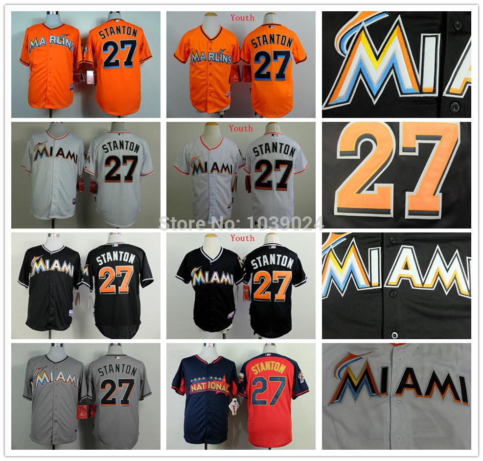 Men's Miami Marlins 27 Giancarlo Stanton Baseball Jersey Orange,Black,White,Grey,Giancarlo Stanton Youth Jersey Stitched(China (Mainland))