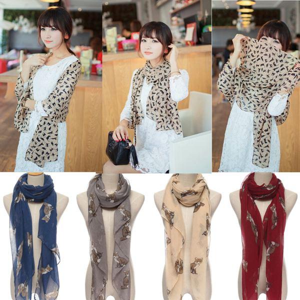 Fashion Elegant Women Ladies Warm Animal Fox Print Scarf Polyester Comfortable Shawl Wraps Girls Lovely Stole(China (Mainland))