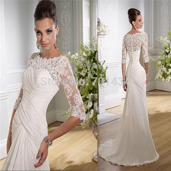 Beautiful 2014 Scoop Half Sleeve Bridal Wedding Dress Gown Mermaid Floor Length Zipper Buttons(China (Mainland))