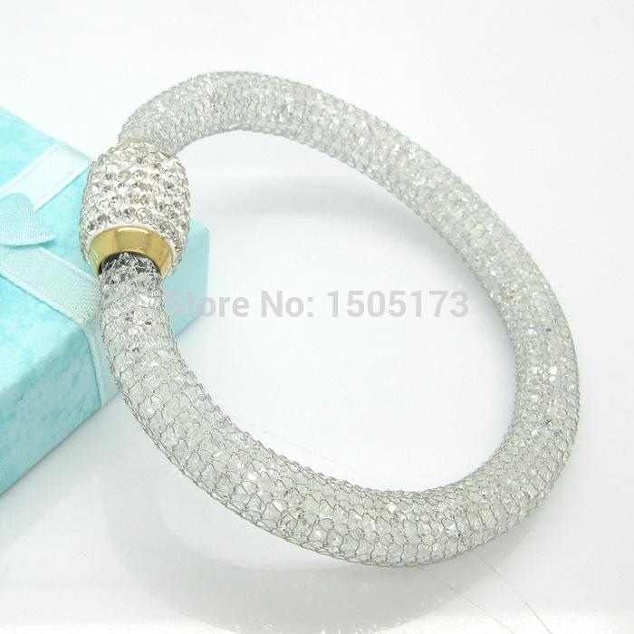 Free shipping (6pieces/lot)Tp fashion America stainless steel Stardust mesh bracelet cz diamond jewelry for women wrist band(China (Mainland))