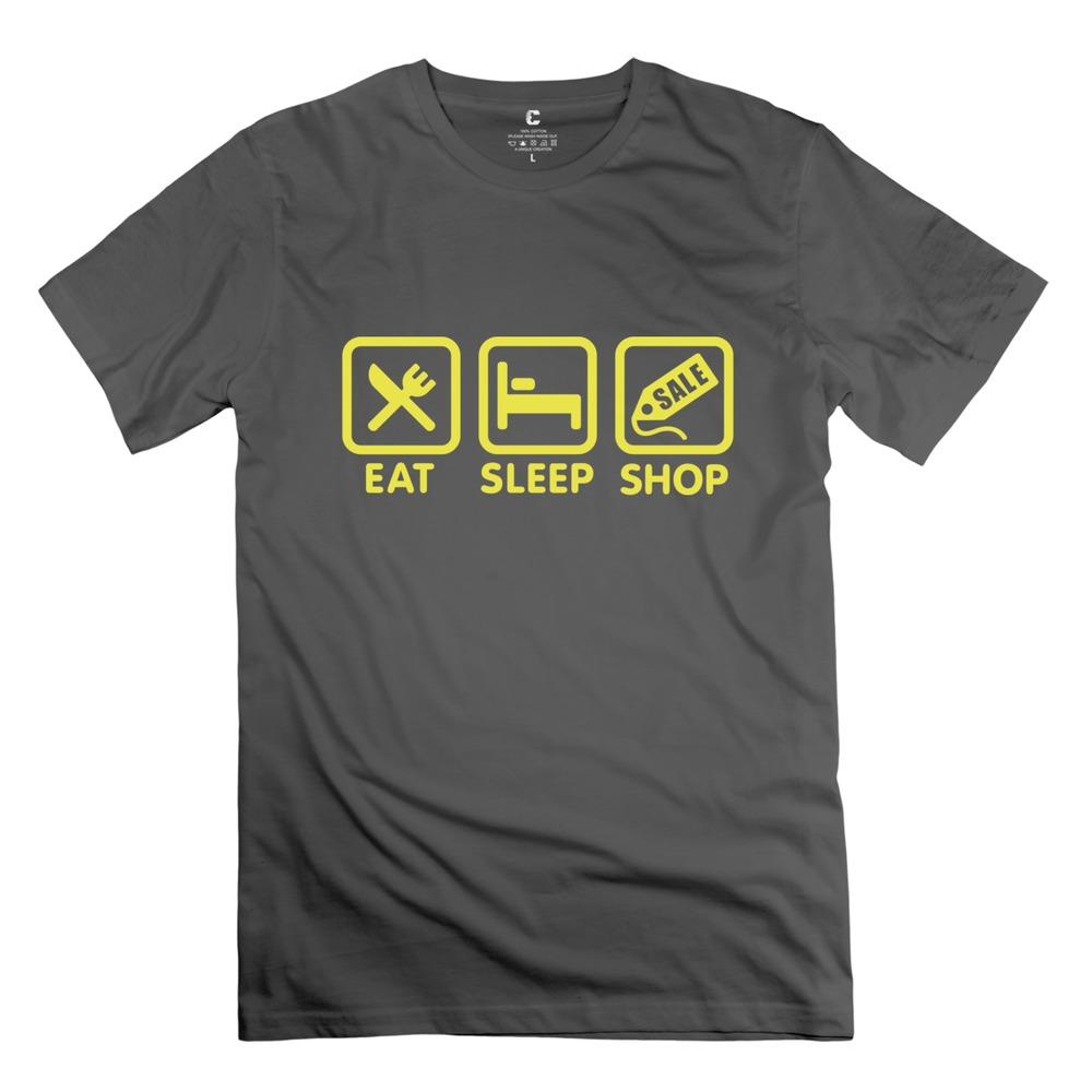 Nice Screw Neck Eat Sleep Shop men's tshirt Latest tshirt For men(China (Mainland))