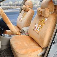 Hello kitty 18pcs brown Custom car seat covers full set soft plush Exquisite car seat cushion car steering wheel cover