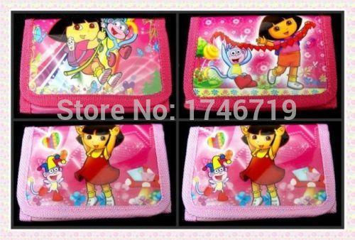 Free Shipping 24pcs Dora Purses Money Bag Party Supplies Cartoon Wallet QB033(China (Mainland))
