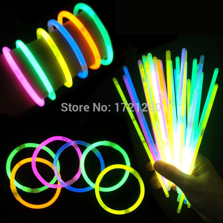FREE SHIPPING 100pcs/lot Multi Color Glow Fluorescence Sticks Bracelets Necklaces Neon Party Bright Colorful Light DIY STICKS(China (Mainland))