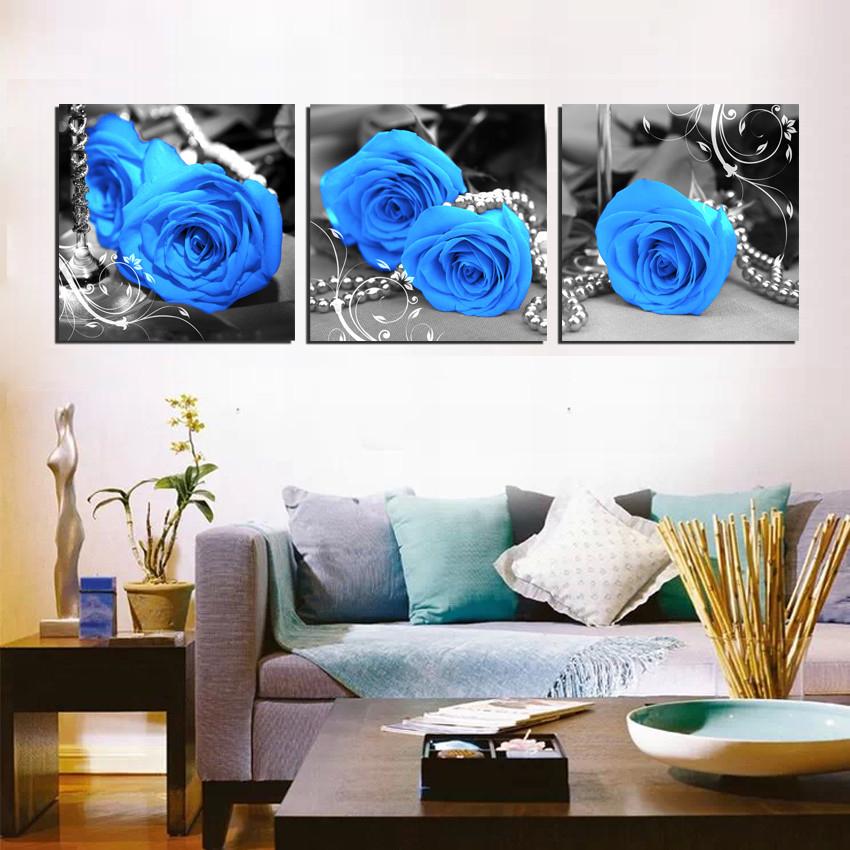 Aliexpress.com: Koop 3 stuks fotos bloem muur decor blauwe roos blauw ...