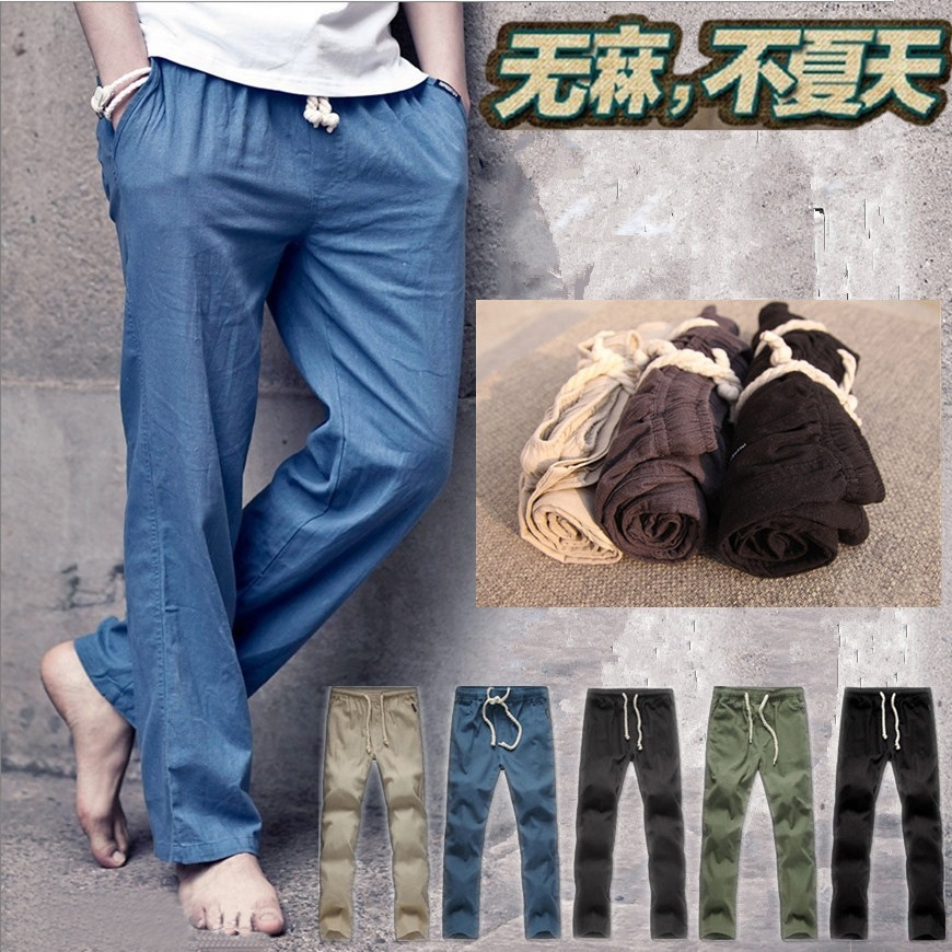 Black Linen Trousers Mens Men Linen Pants Men Black