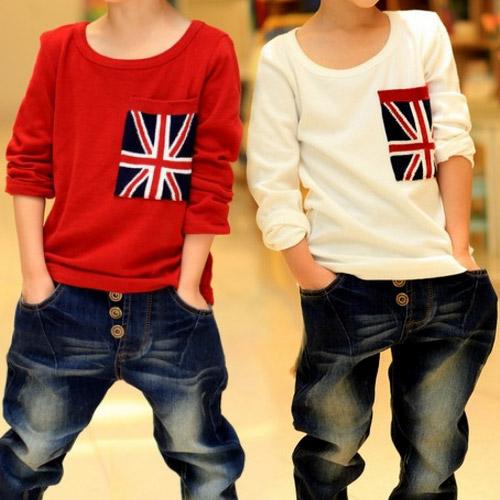 New Fashion Boys Designer Kids Brand Boys' Clothing Hot Sale Round-neck Flag Boy T Shirt Tee Shirt Boys(China (Mainland))