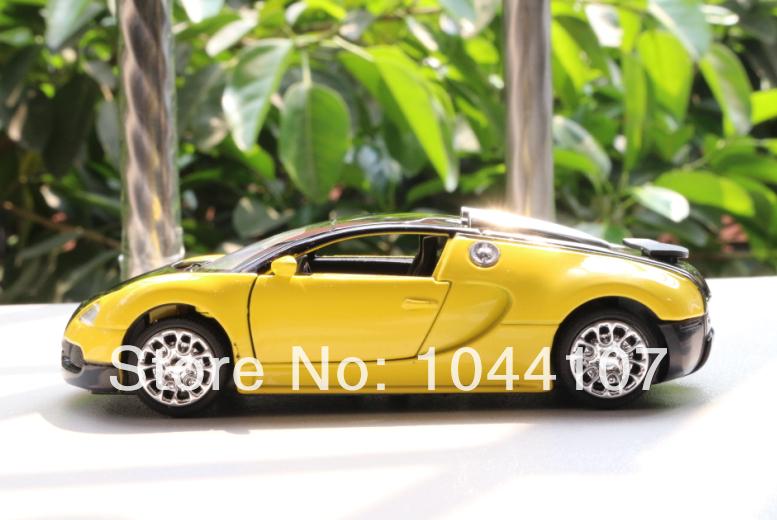 new yellow 1 36 bugatti veyron model car toys pattern diecast sound light c018. Black Bedroom Furniture Sets. Home Design Ideas