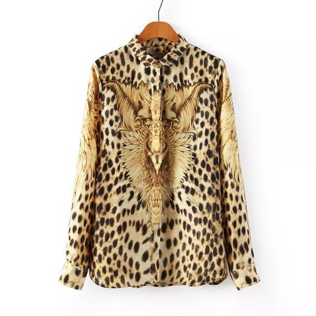 Women Tops Silk Eagle Leopard Location Mosaic Print Shirt Lapel Long-sleeved Blouse Free Shipping S M L(China (Mainland))