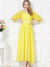 2015 New Arrival Summer Casual Women Dress Empire O-neck Chiffon Hollow Lace Vestido De Festa Long Dress Party Dresses